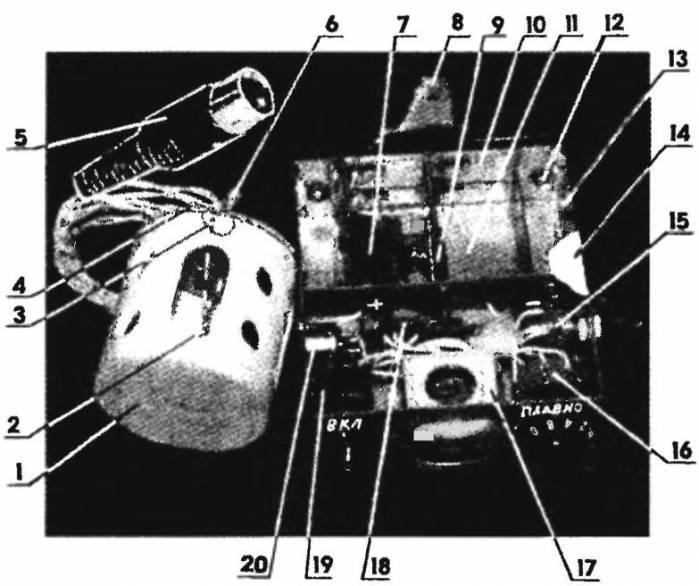 Где термик? </p> </p> <p> <strong>Электронный термоизвещатель:</strong></p> <p>1 —солнцезащитный пенопластовый стакан термодатчика; 2 — терморезистор СТЗ-19; 3 — монтажный пистон (латунь, 2 шт.); 4 — основание термодатчика (стеклотекстолит s1); 5 — вилка разъема ОНЦ-ВГ-2/16 с электрическим шнуром (провод МГТФ-1,5х2, L1500); 6 — крепежная латунная гильза; 7 — гальванический элемент (1,5 В, 8 шт.); 8 — муфта-кронштейн (латунь s2); 9 — винтовая стяжка М3; 10 — электроконтактная ламель (8 шт.); 11 — батарейный отсек (53x30x30 мм, 2 шт.); 12 — винт М4 (2 шт.); 13 — корпус (коробка 100x90x30 мм, спаянная из фольгированного стеклотекстолита); 14 — крышка (стеклотекстолит s1); 15 — потенциометр баланса ГРУБО; 16 — потенциометр баланса Медлено; 17 — стрелочный индикатор М476/3; 18 — монтажная плата; 19 — сдвоенный тумблер включения электропитания МТЗ; 20 — гнездовая часть разъема ОНЦ-ВГ-2/16 </p> <p><strong>Принципиальная электрическая схема и монтажная плата прибора</strong></p> <p>И еще. Принято вычислять, что модель получает хорошие эксплуатационные качества только по окончании продолжительных и целенаправленных летных опробований в разных атмосферных условиях. Применение же электронного термоизвещателя, собираемого по отечественной схеме, разрешает приобретать высокие результаты с первых стартов. </p> <p> В базе конструкции— гибридная интегральная микросхема 2УС284, воображающая собой балансный усилитель с высокими эксплуатационными данными: диапазон рабочих температур от минус 60 до плюс 70 °С, большая потребляемая мощность 85 мВт, разбаланс выходных напряжений меньше шести процентов. Наровне с применением в качестве датчика терморезистора типа СТЗ-19 номиналом 15 (20) кОм, а в качестве выходной нагрузки — чувствительного стрелочного индикатора М476/3 это снабжает надежное функционирование всего прибора в целом. </p> <p> Прибор несложен в изготовлении и без настройки начинает трудиться сходу по включении. Питание схемы двойное (плюс 6 В и минус 6 В), исходя из этого тум