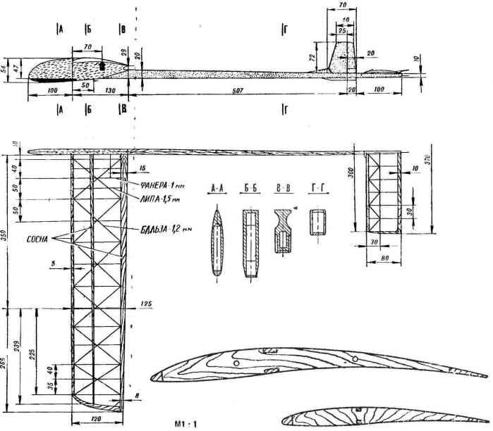 Модель планера класса а-1