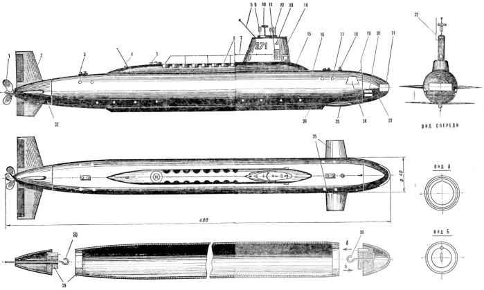 Модель подводной лодки с резиномотором