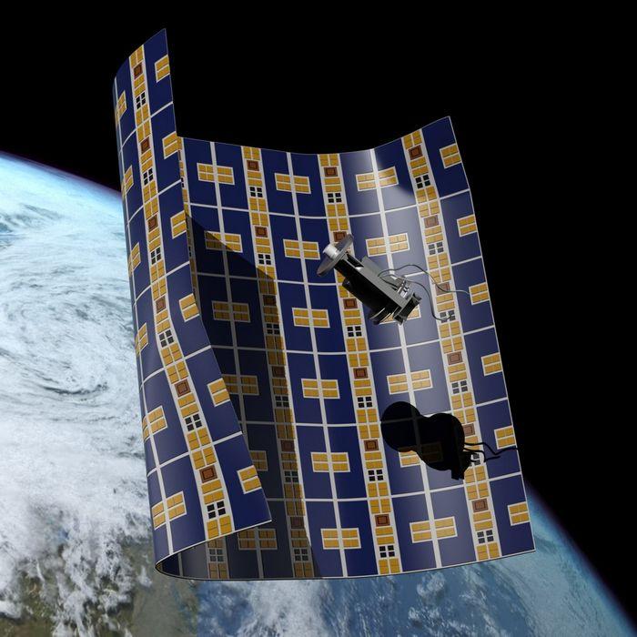 Начата разработка необычного космического аппарата для уборки космического мусора, представляющего собой мембрану, толщиной с лист бумаги