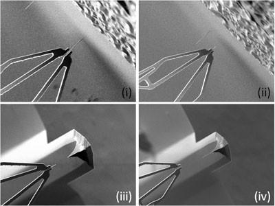 Наноманипулятор типа рука робота хватает углеродные нанотрубки