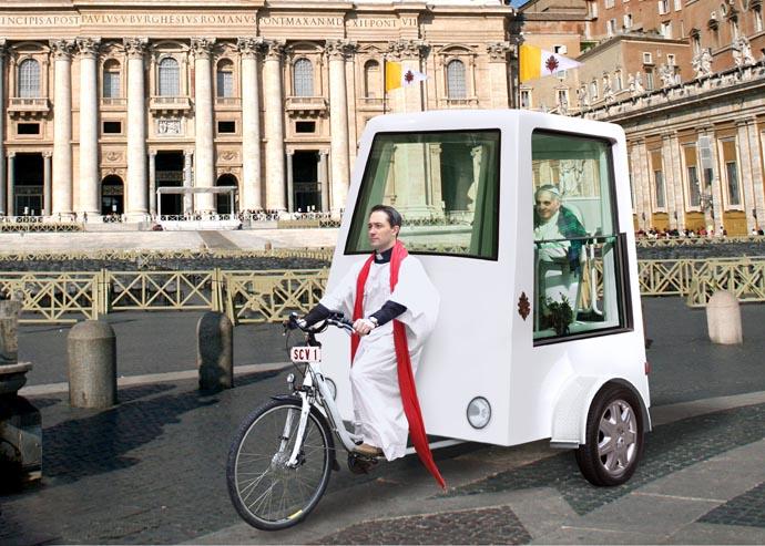 Первый в мире педальный папамобиль