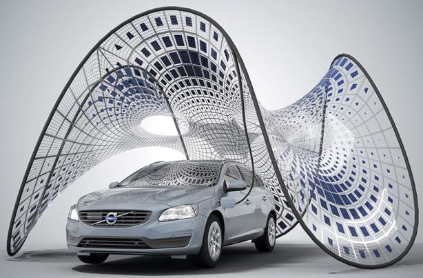 Volvo v60's pure tension: портативный павильон для подзарядки
